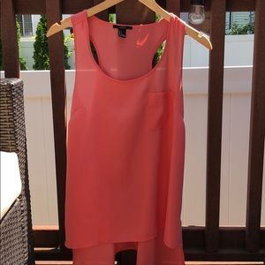 Coral sleeveless top with pocket